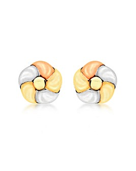 9Ct 3 Colour Gold Flower Knot Earrings