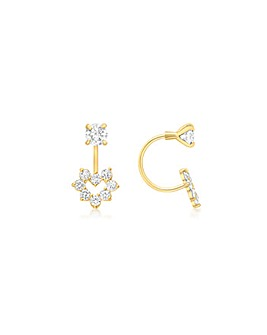 9Ct Gold Heart Double Earrings