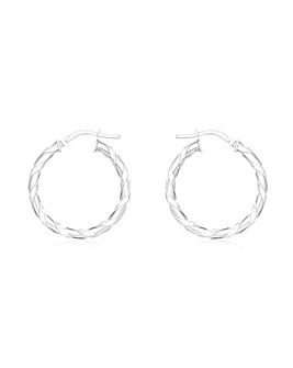 9CT White Gold Flat Twist Creole Earring