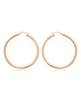 Sterling Silver Rose Plated Hoop Earring