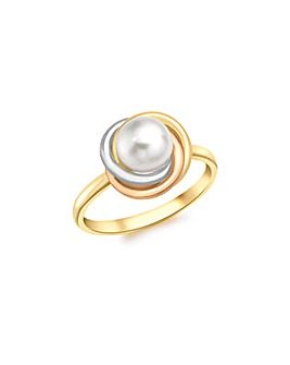 9CT 3 Colour Gold and Pearl Ring