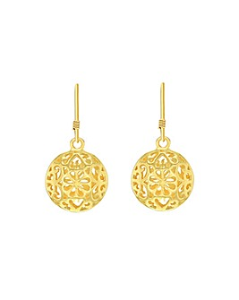 Sterling Silver Gold Plated Drop Earring