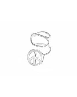 Sterling Silver Wire & Peace Ear Cuff