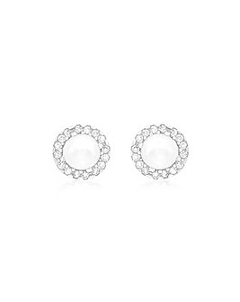 9CT White Gold Pearl Stud Earrings