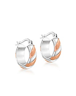 9CT Red & White Gold Satin Twist Earring