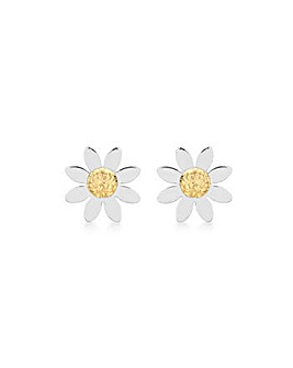 9CT Yellow & White Gold Daisy Earrings
