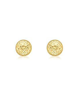 9CT Gold Diamond Cut Dome Stud Earrings