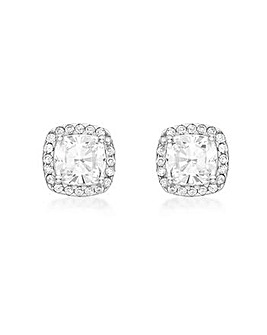 9CT White Gold Cushion Stud Earrings