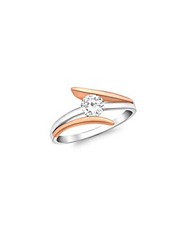 9CT Red & White Gold Crossover Ring