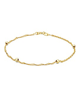 9CT Gold Twist Curb & Balls Bracelet