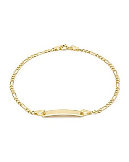 9CT Yellow Gold Figaro ID Bracelet