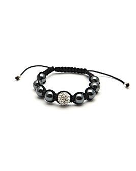 Cord Glitterball and Hematite Bracelet