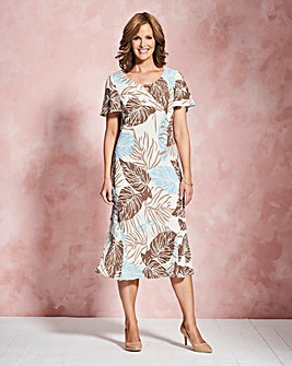 Palm Print Bias Cut Dress L45in
