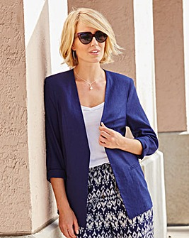 Linen-Mix Tailored Jacket