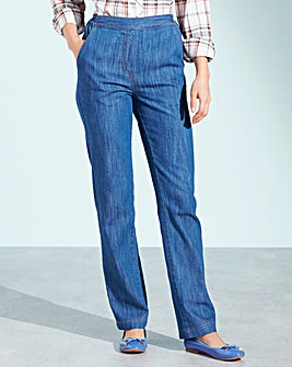 Pull-On Straight-Leg Jeans Short