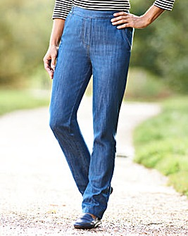 Pull-On Straight-Leg Jeans Long