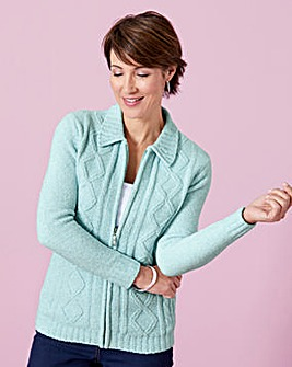 Chenille Zip-Through Cardigan