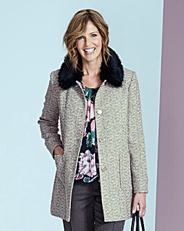 Textured Coat with Faux Fur Collar