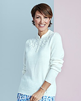 Embroidered Detail Jumper with Collar