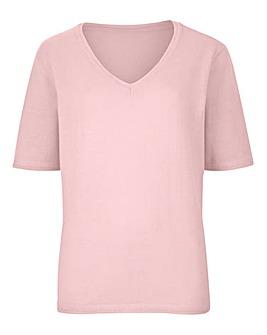 Supersoft Short-Sleeve V-Neck Sweater