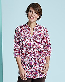 Floral Pintuck Cotton Blouse