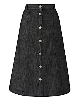 Button-Front Denim Skirt L 29in