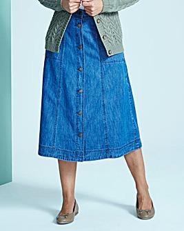 Button-Front Denim Skirt L32in