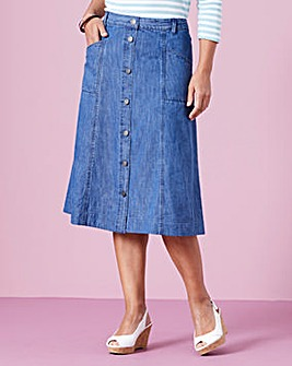 Button-Front Denim Skirt L32in