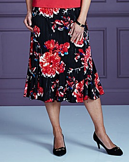 Floral Print Ripple Jersey Skirt L29in