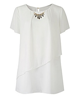 Layered Blouse with Necklace Trim