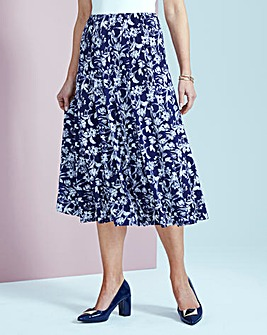Print Jersey Panelled Skirt L32in