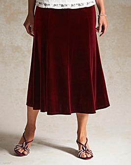 Pull on Panelled Velour Skirt 27in