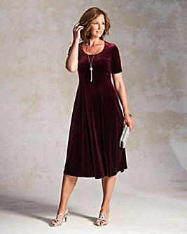 Plain Velour Dress with Necklace