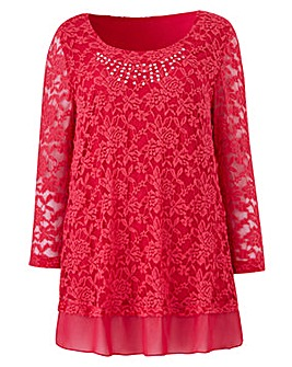 Lace Tunic with Chiffon Trim and Studs