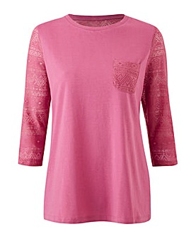 Lace Sleeve Jersey T Shirt with Pocket
