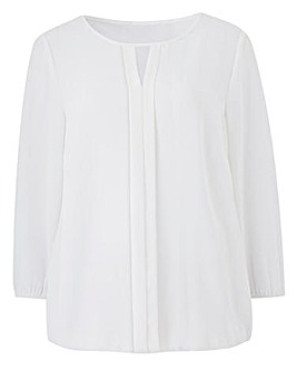 Pleat Front Blouse with Bubble Hem