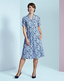 Print Shirt Dress with Pleat Skirt