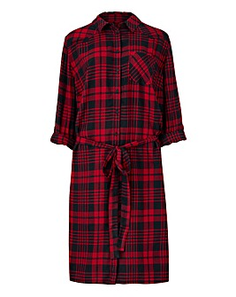Red Check Shirt Dress
