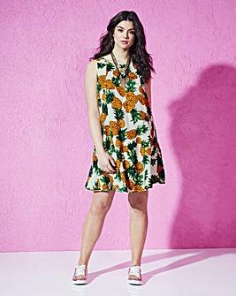 Ivory Fruit Print Sleeveless Swing Dress