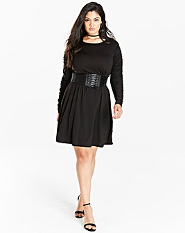 Black Ruched Sleeve Swing Dress