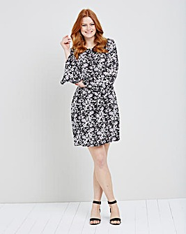 Black Floral Woven Flare Sleeve Dress
