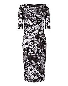 Black/White Floral Side Tuck Dress