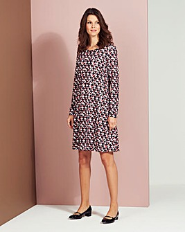 Navy Geo Print Jersey Swing Dress
