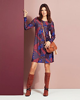 Purple Print Jersey Swing Dress