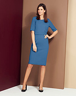 Smokey Blue Textured Double Layer Dress