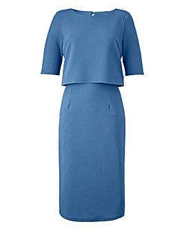 Smokey Blue Textured Double Layer Dress