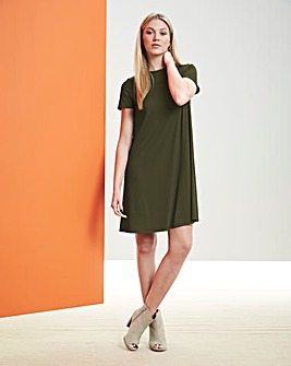 Mid Olive Ribbed Jersey Swing Dress