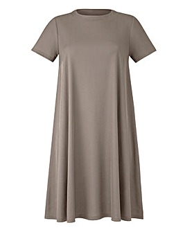 Grey Ribbed Jersey Swing Dress