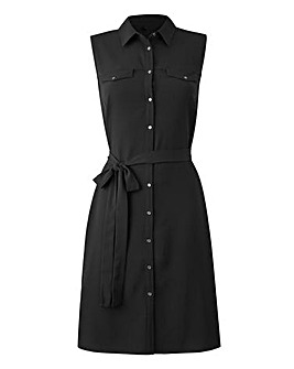 Black Button Sleeveless Shirt Dress