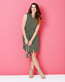 Khaki Button Sleeveless Shirt Dress